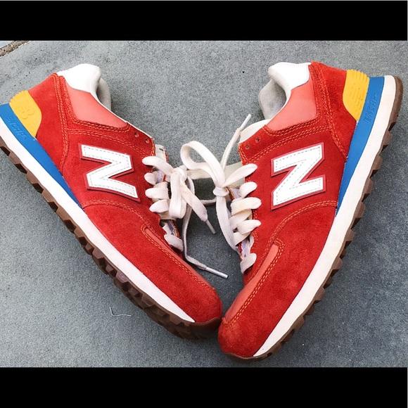 uk availability ac8f6 139b0 NEW BALANCE 574 red yellow blue sneakers 🔥. M 5bb44afec61777deea98eb1e